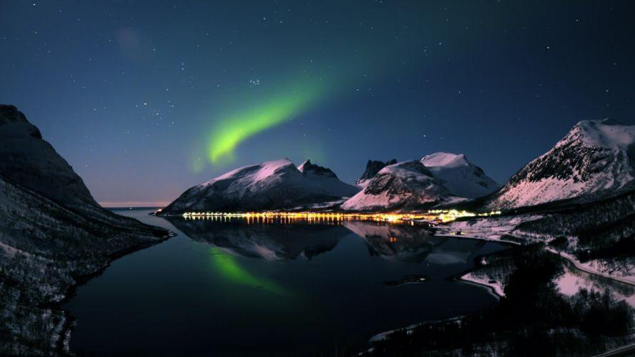 aurora boreal hielo artico naturaleza wallpaper