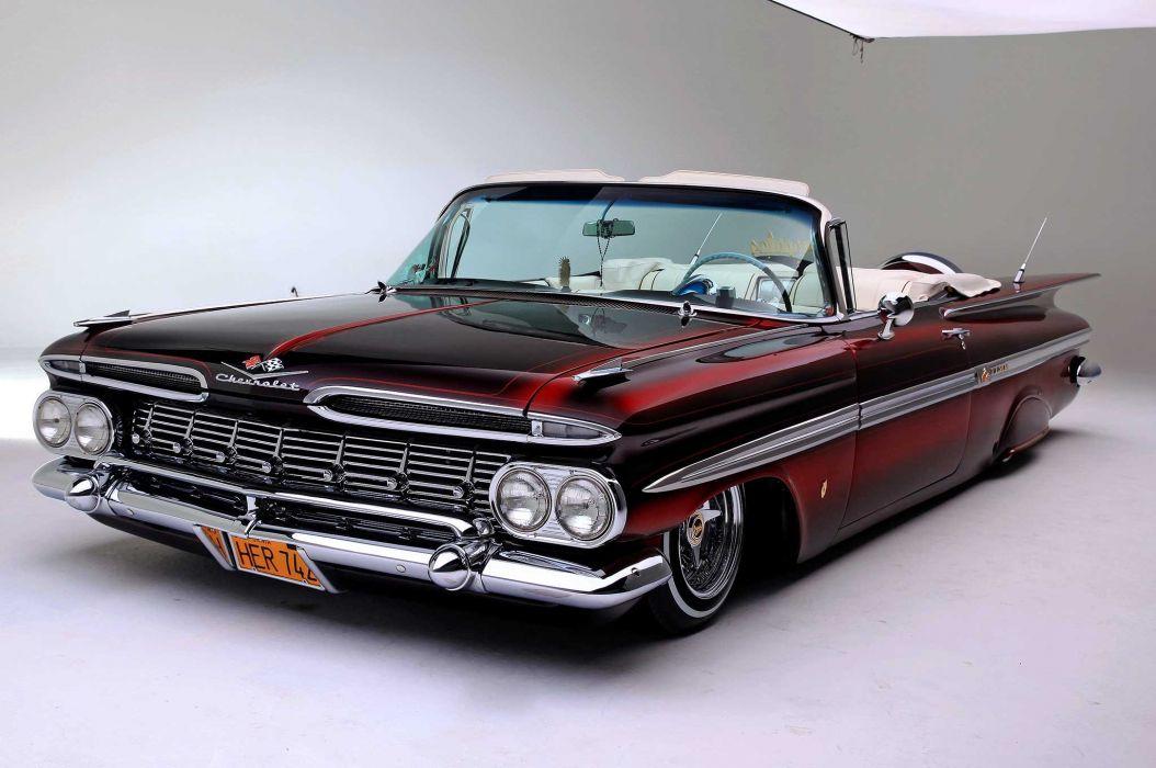 1959 chevrolet impala convertible custom tuning hot rods rod gangsta lowrider wallpaper