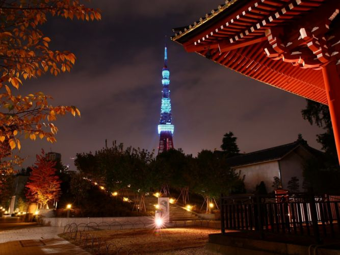 Japan Tokyo trees cityscapes tower japanese city lights Tokyo towers wallpaper