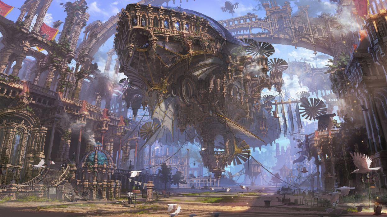 airships futuristic steampunk ruin ship city wallpaper