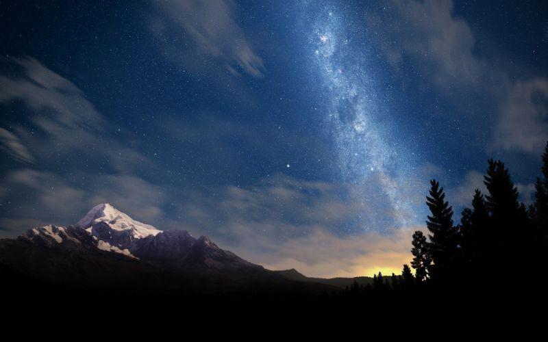 milky way landscape stars night starry night galaxy long exposure sunrise clouds mountain wallpaper