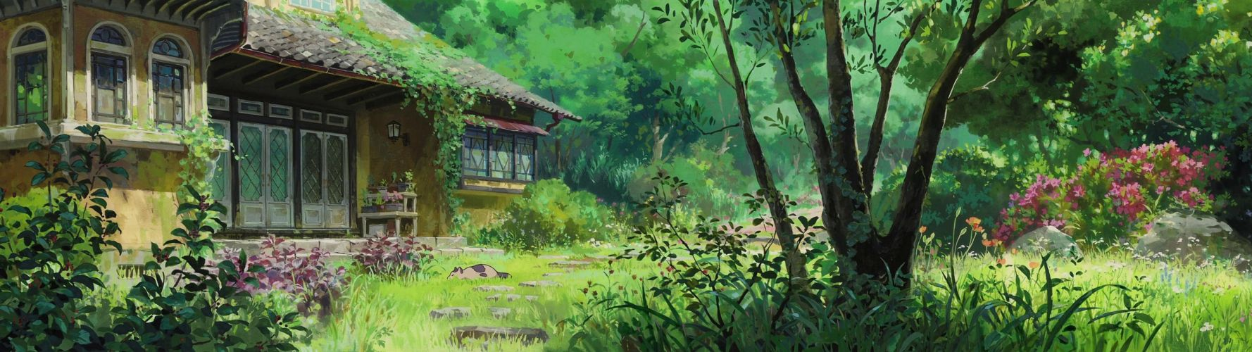 artwork garden cottage multiple display Karigurashi no Arrietty Studio Ghibli dual monitor wallpaper