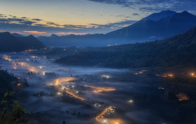 blue sunrise lights mountain cityscape landscape mist nature clouds wallpaper