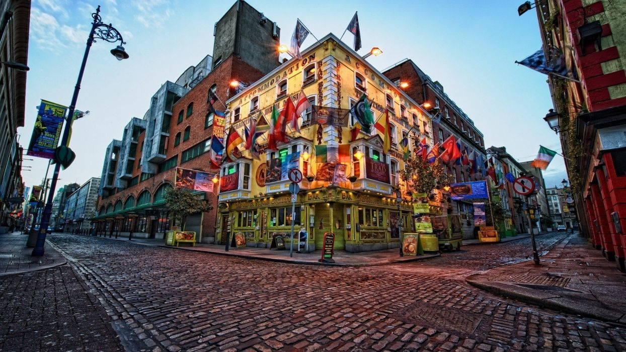 street Ireland Dublin cityscape city building evening street light architecture restaurant wallpaper