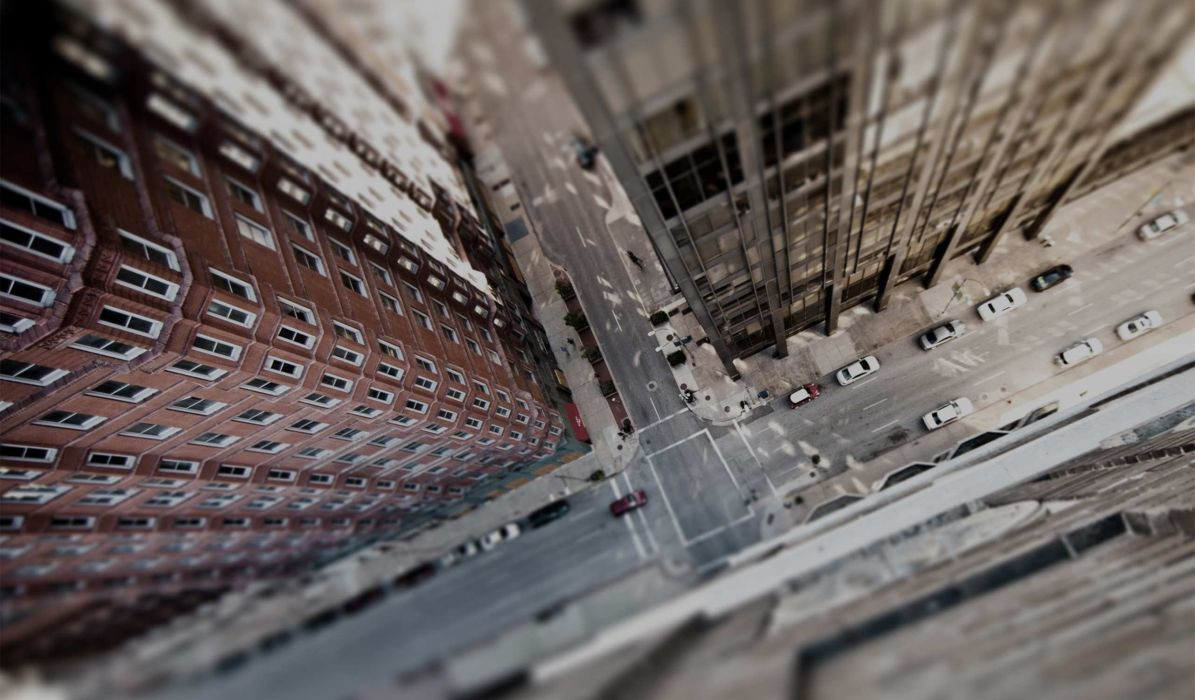 tilt shift street road bird's eye view architecture building urban city wallpaper