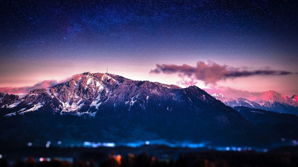 night stars mountain landscape wallpaper