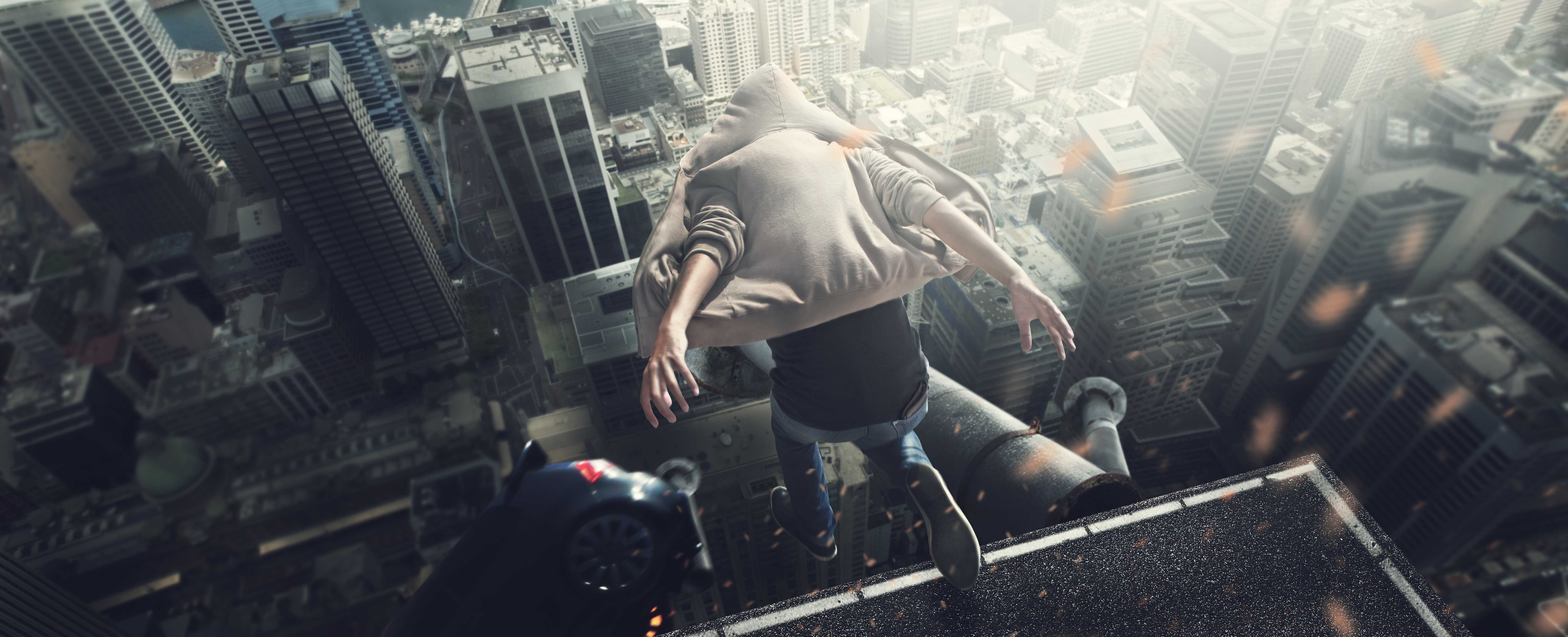 building falling cityscape jumping wallpaper 8000x3251 969903