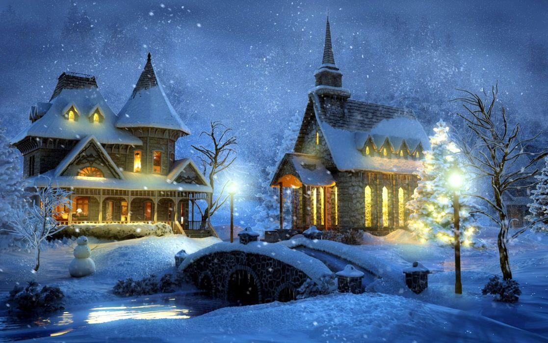 house church bridge snow river painting artwork wallpaper