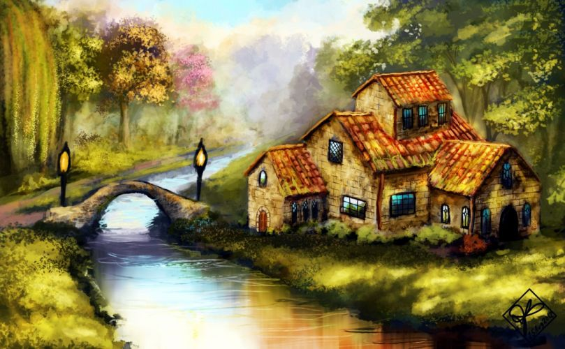 lamps trees landscape water painting bridge wallpaper