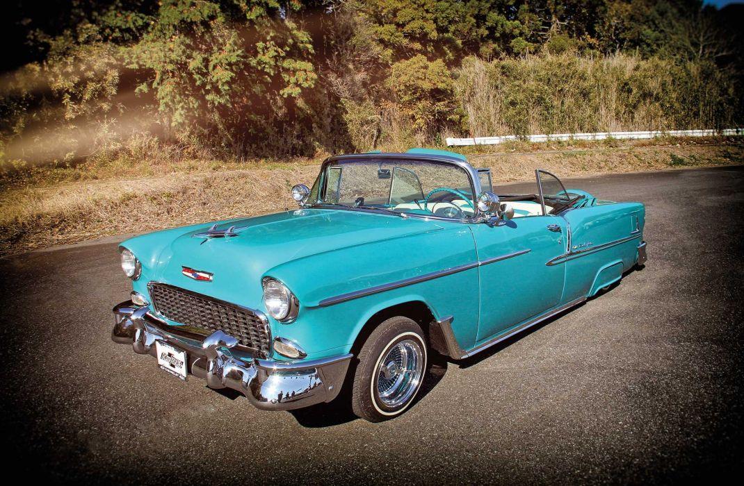 1955 CHEVY BEL AIR CONVERTIBLE custom tuning hot rods rod gangsta lowrider wallpaper