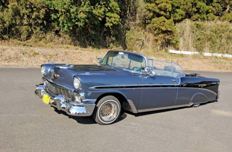 1956 CHEVROLET BEL AIR CONVERTIBLE custom tuning hot rods rod gangsta lowrider wallpaper
