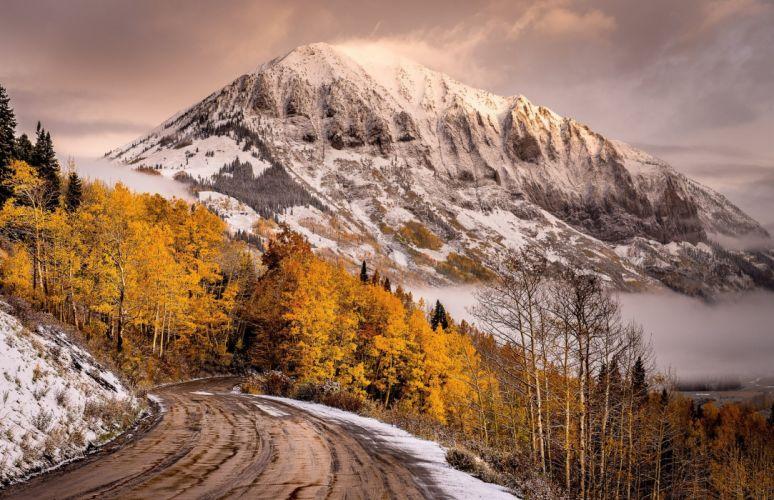 view road mountains sky snow fall winter autumn splendor clouds wallpaper