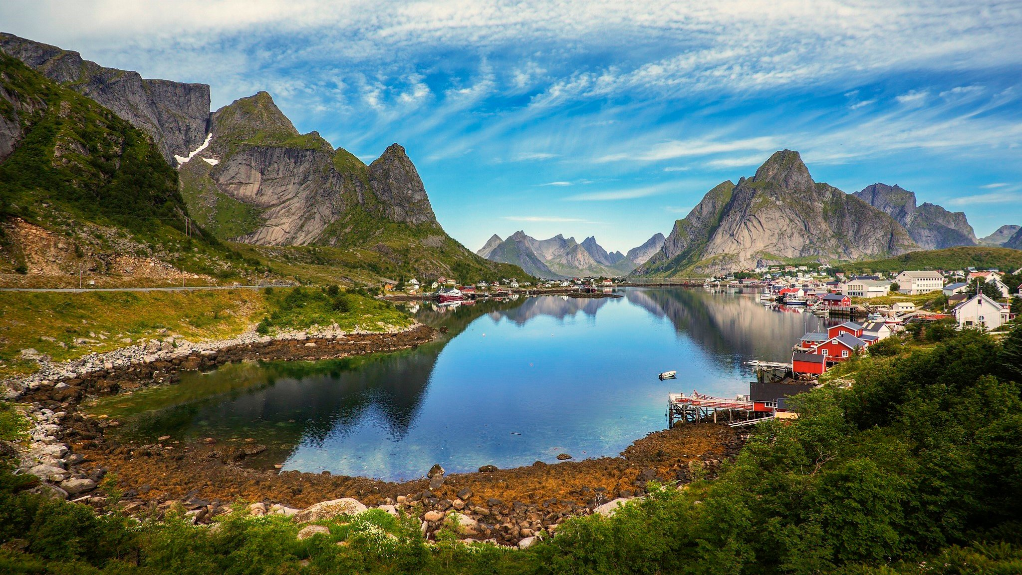 Mountains Road Grass Norway Town Dock Clouds Beautiful