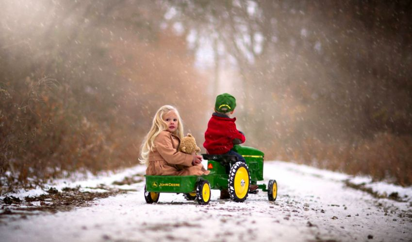 road child forest girl woods boy winter Snowy winter time snow nature wallpaper