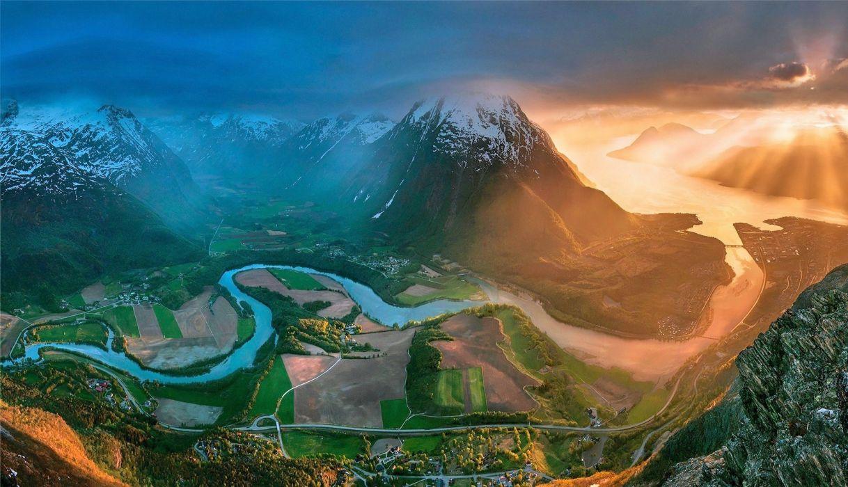 sea sunset bridge mountains sunbeams Norway beautiful snowy peaks field cityscape road sky river clouds wallpaper
