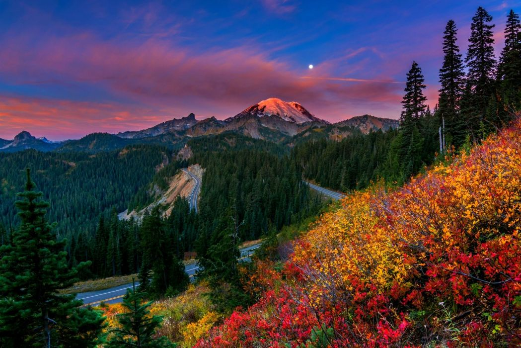 sky Moon sunset mountains beautiful nature colors forest trees snowy peaks road shrubs clouds wallpaper