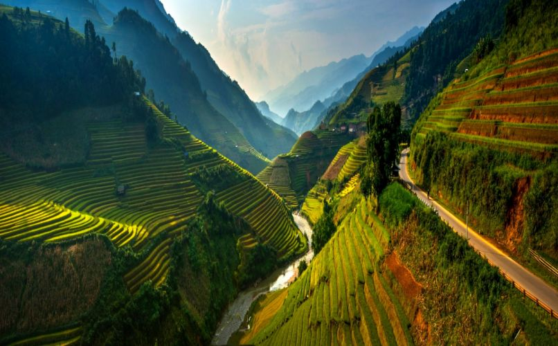 agriculture road mountains field trees beautiful clouds green river wallpaper