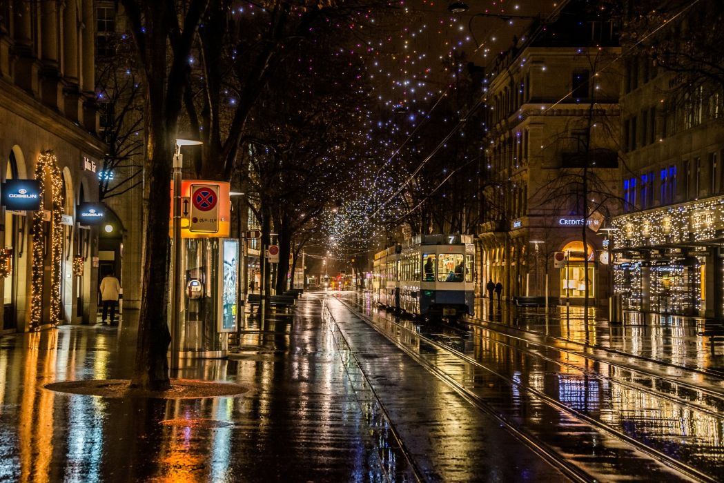 Nature Rainy Walk Lights City Road Rain Wallpaper