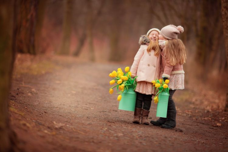 flowers forest girls path wallpaper