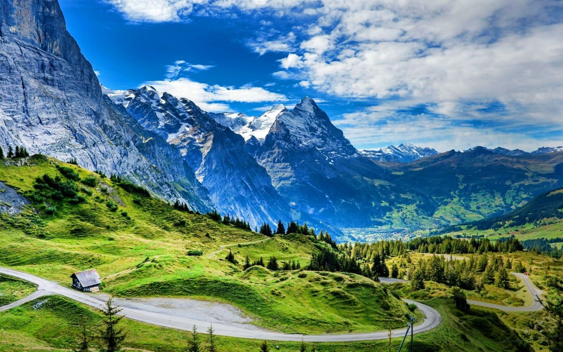 mountains cabin snowy peaks clouds forest beautiful grass Alps Switzerland road wallpaper