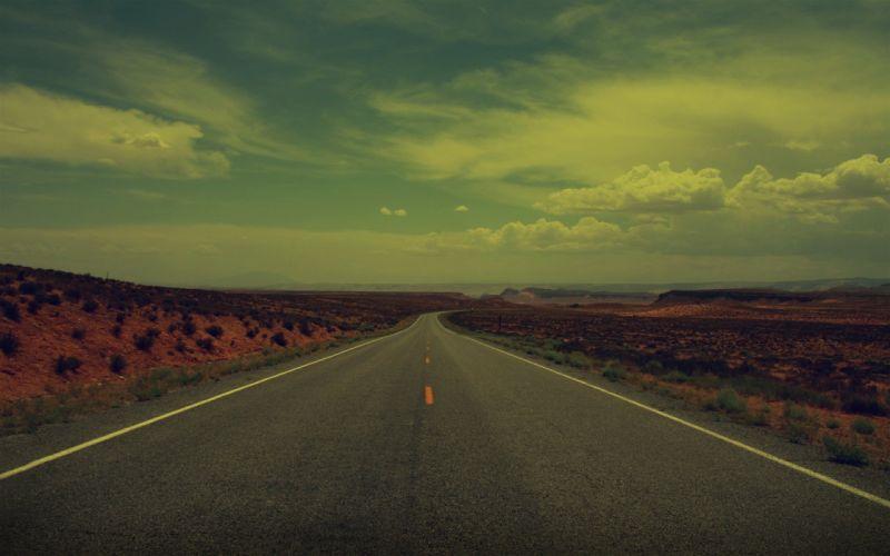 desert road sky clouds beauty wallpaper