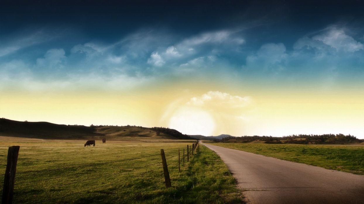 sky landscape road wallpaper