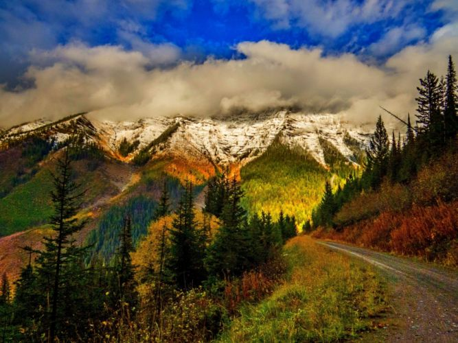 leaves autumn splendor clouds snow fall nature trees mountains colors sky road autumn park wal forest path colorful wallpaper
