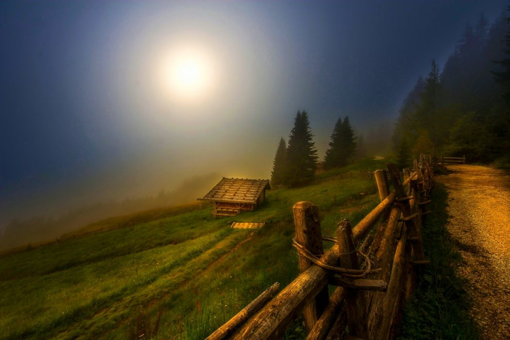 forest hut mountains mystic atmosphere road grass fence hillside night Moon beautiful wallpaper
