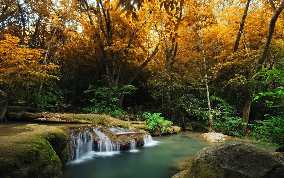 lovely view beautiful autumn splendor rocks waterfall trees water peaceful splendor river beauty woods autumn colors stream nature tree forest Autumn leaves autumn wallpaper