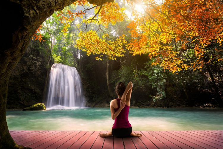 green Hatha Yoga beautiful waterfall female model yellow trees pink lagoon autumn asana orange white wallpaper