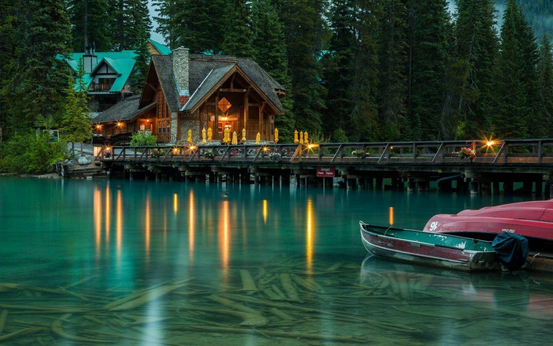 Lights Boats Trees Lodge Water Crystalline Canada Dock Beautiful