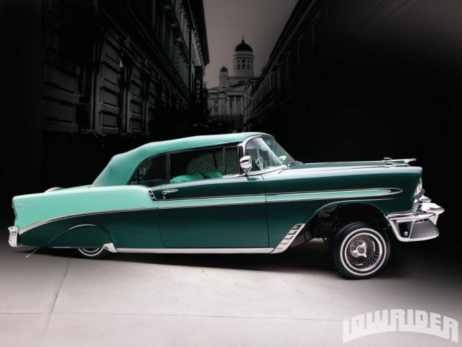 1956 CHEVY BEL AIR CONVERTIBLE custom tuning hot rods rod gangsta lowrider wallpaper