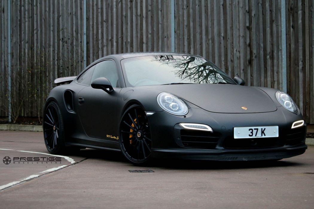 Porsche 991 turbo black Vossen wheels cars wallpaper
