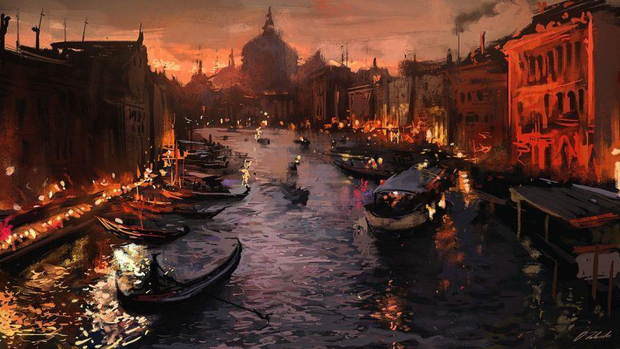 gondolas Venice painting artwork Italy river wallpaper