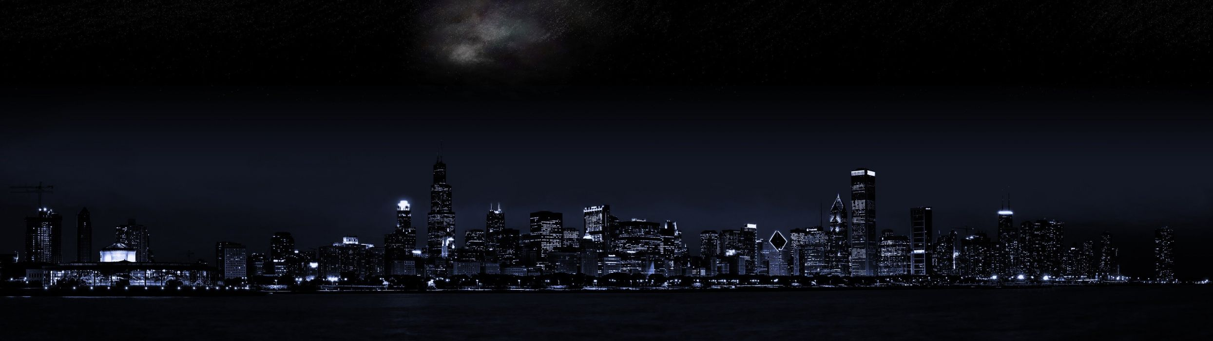 cityscape double screen dark wallpaper
