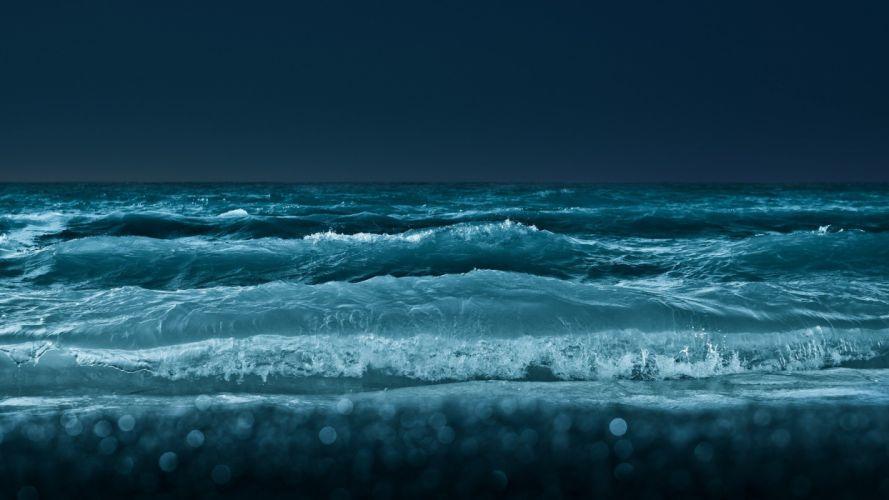 waves blue beauty beach bokeh nature wallpaper