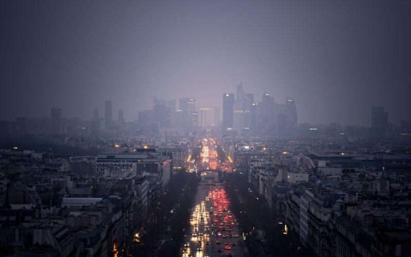 Paris mist rain lights evening cityscape city wallpaper
