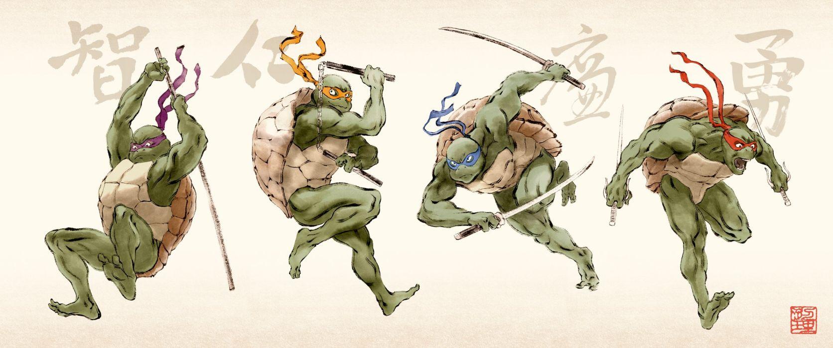 TEENAGE MUTANT NINJA TURTLES fantasy sci-fi adventure warrior animation action fighting tmnt wallpaper