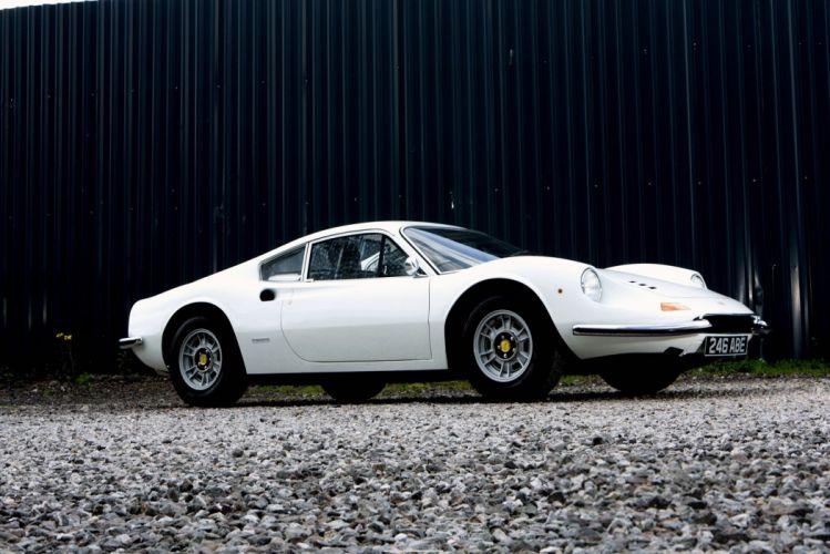 Dino 246 GT UK-spec white cars classic 1972 wallpaper