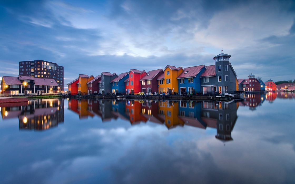 Netherlands cityscape house colorful reflection wallpaper