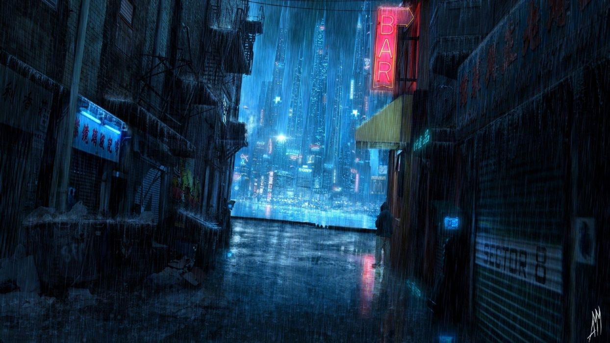 Fanyasy Beauty Rain Street Night Cityscape City Wallpaper
