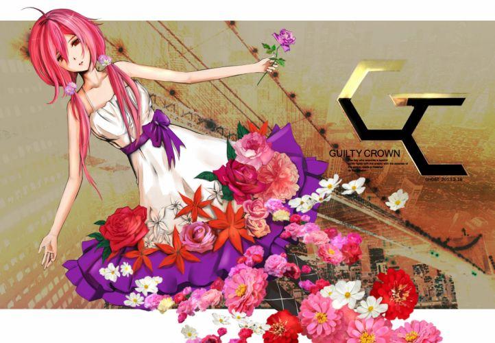 Guilty Crown Inori Yuzuriha with flower tail wallpaper