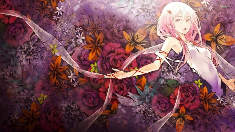Guilty Crown Inori Yuzuriha With Flower Background wallpaper