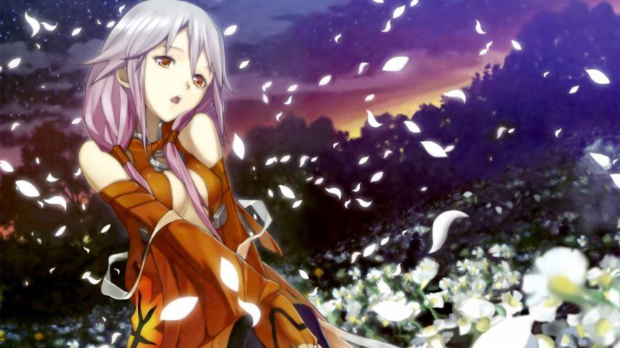Guilty Crown Inori Yuzuriha In White Flower Field wallpaper