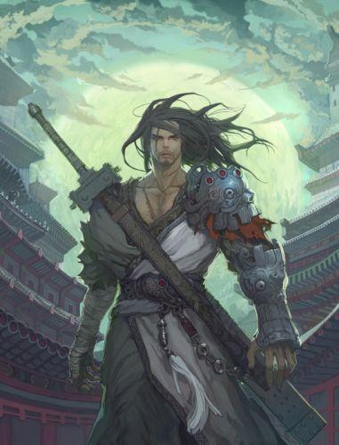 original characters male warrior sword artwork wallpaper