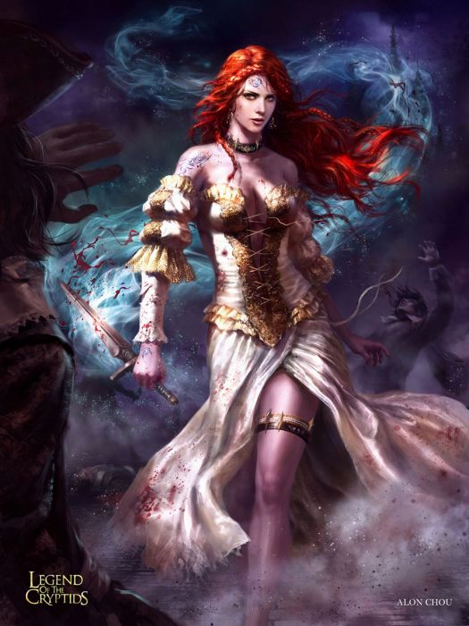 games fantasy characters woman legend of the cryptids red hair dress wallpaper