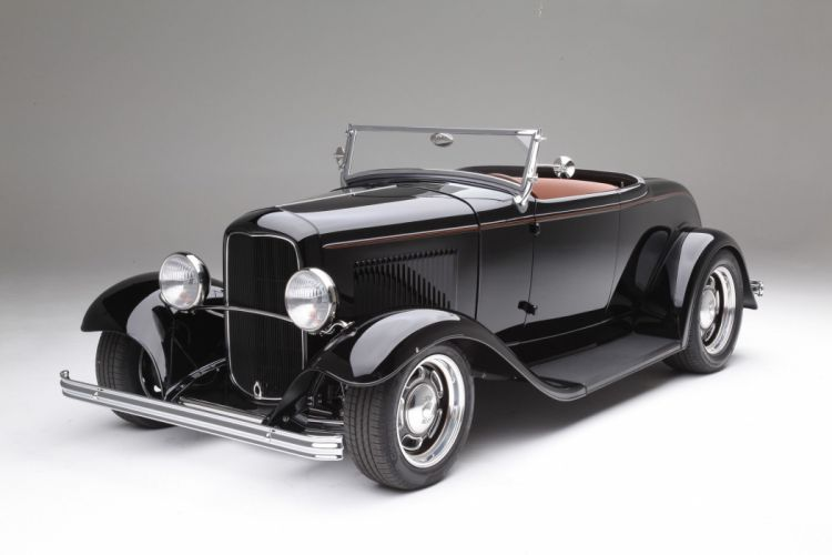 1932 Ford Deuce Roadster cars black hot rod wallpaper