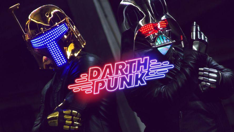 DAFT PUNK dubstep electro house dance disco electronic robot cyborg poster darth star wars wallpaper