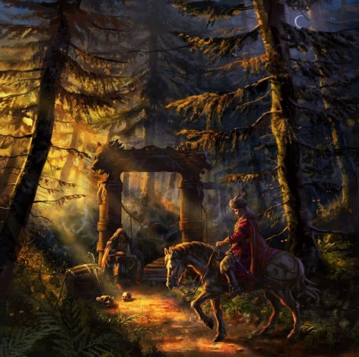 original fantasy character beauty forest witch horse bey wallpaper
