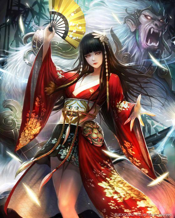 original fantasy character beauty kimono girl long hair wallpaper
